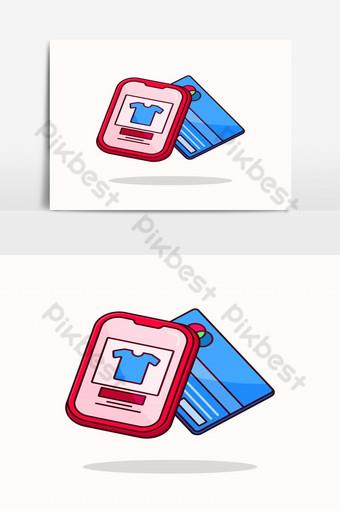 Ilustración de teléfono inteligente de comercio electrónico con transacción de tienda en línea de tarjeta de crédito Elementos graficos Modelo EPS