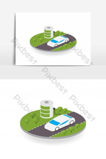 изометрический электромобиль на концепции экологии плавучего острова на белом фоне Графические элементы шаблон EPS