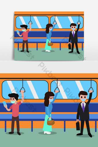 Concepto de distanciamiento social con personas con máscaras médicas en la estación. Elementos graficos Modelo EPS