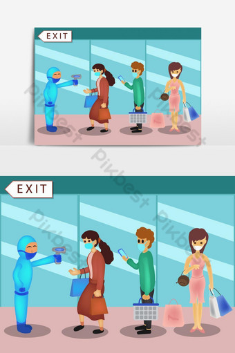 People wearing a mask doing social distancing while standing in a queue in the Shopping PNG Images Template PSD