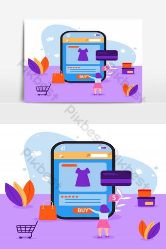 Ilustración comercio electrónico mujeres compran vestido en concepto de tienda en línea transacción en línea Elementos graficos Modelo EPS