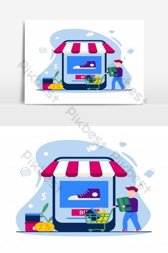 Ilustración de comercio electrónico concepto de tienda en línea en diseño plano personas comprando con carrito Elementos graficos Modelo EPS