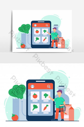 illustration online shop - e commerce concept in flat design - people are shopping for fru PNG Images Template EPS