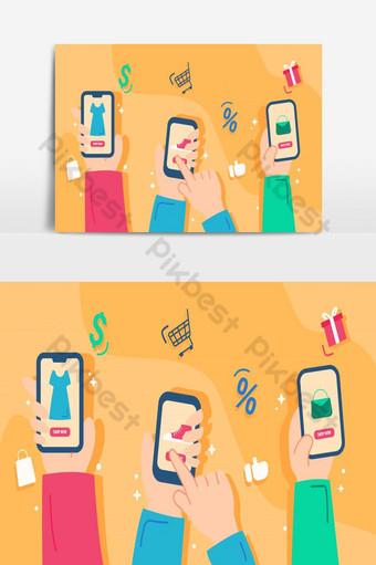 Ilustración tienda online en concepto de diseño plano ecommerce en mano de dibujos animados sosteniendo el Elementos graficos Modelo AI