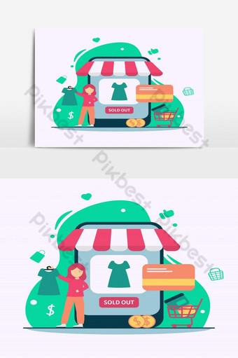 ilustración de comercio electrónico concepto de tienda en línea en diseño plano mujeres sosteniendo la ropa Elementos graficos Modelo EPS