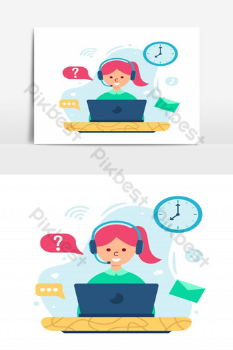 customer service concept in flat design - illustration woman with headphone and microphone PNG Images Template EPS