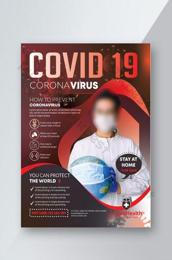 Projekt szablonu ulotki o zapobieganiu i świadomości wirusa Corona Covid 19 Szablon AI
