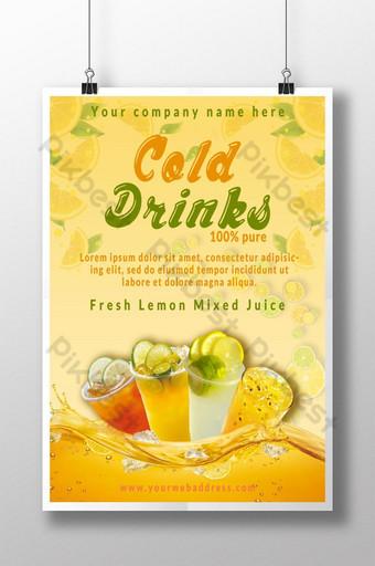 عصير الليمون الطازج تصميم ملصق المشروبات الباردة قالب PSD