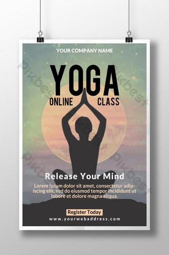 Conception d'affiche de promotion de cours de yoga en ligne Modèle PSD