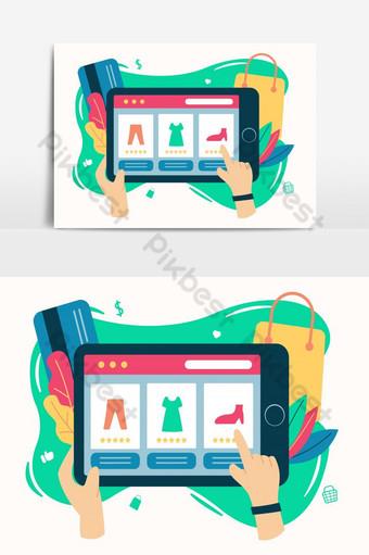 Ilustración tienda en línea concepto moderno comercio electrónico con tableta de mano en plano de Elementos graficos Modelo EPS