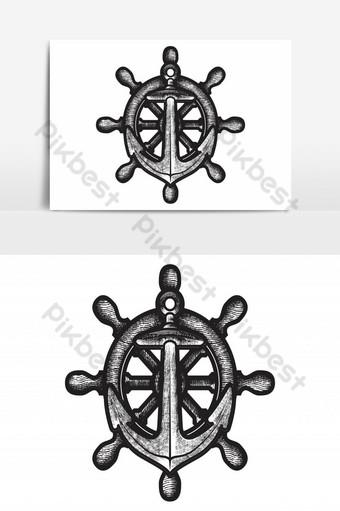 mano amanecer ancla vector logo icono náutico marítimo mar océano barco ilustración símbolo des Elementos graficos Modelo AI