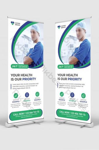 Diseño de plantilla de banner de cartel de salud de hospital de señalización médica enrollable Modelo AI