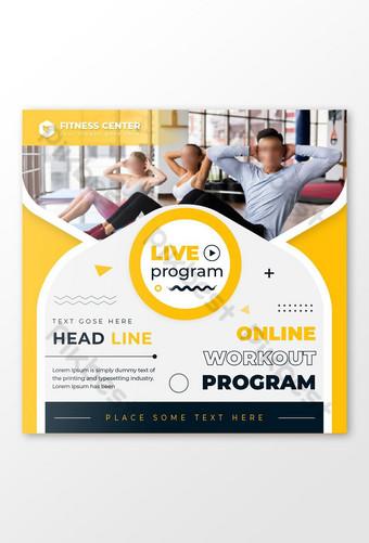 fitness gym programa en vivo diseño de publicaciones en redes sociales Modelo EPS