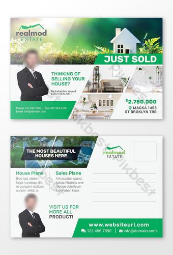 Conception de modèle de carte postale immobilière juste vendu Modèle PSD