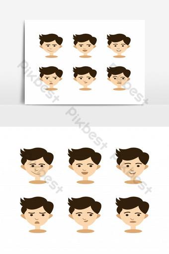 مجموعة من الصور الرمزية لولد الأطفال التي تعبر عن المشاعر المختلفة صور PNG قالب AI