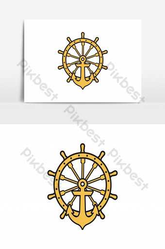 Anchor Nautical maritime sea ocean boat , a steering wheel logo Designs Inspiration Isolat PNG Images Template AI