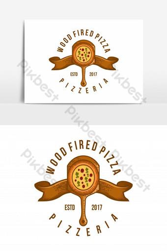 inspiración de diseños de logotipo de pizza de leña vintage aislado sobre fondo blanco Elementos graficos Modelo AI