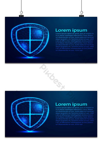 Security Shield composed of polygons. Business concept of data protection. Low poly vector Backgrounds Template AI