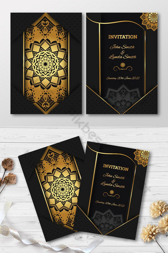 diseño de tarjeta de invitación de lujo con mandala dorado Modelo AI