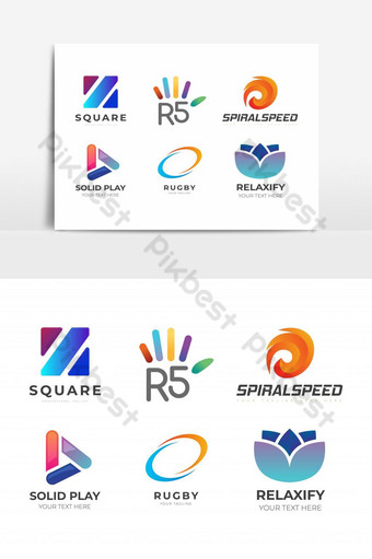 Abstract Logo Icon Set with Reusable Design Element PNG Images Template EPS
