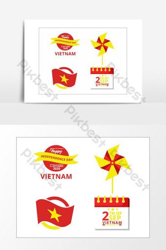 elemento de diseño gráfico del ejemplo del vector del día de la independencia de vietnam Elementos graficos Modelo AI