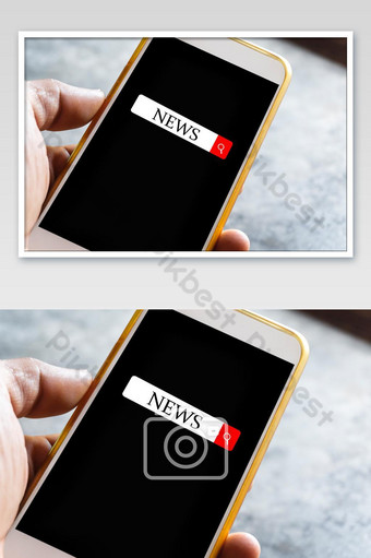 A man's hand is searching for news on the screen of a smartphone with a black screen Photo Template JPG