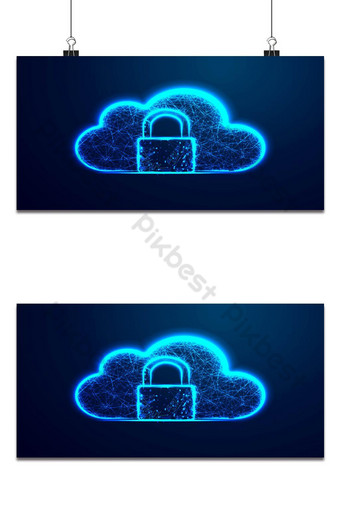 Cloud security icon, Upload and Download protection. Abstract wire low poly, Polygonal wir Backgrounds Template AI