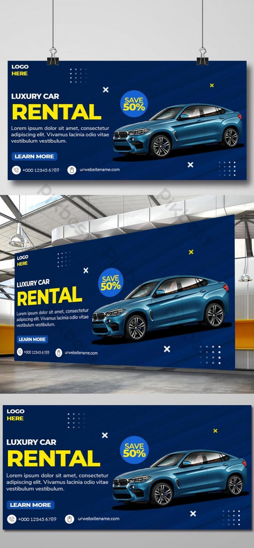 Desain Spanduk Web Rental Mobil Mewah Berwarna Warni Templat Psd Unduhan Gratis Pikbest