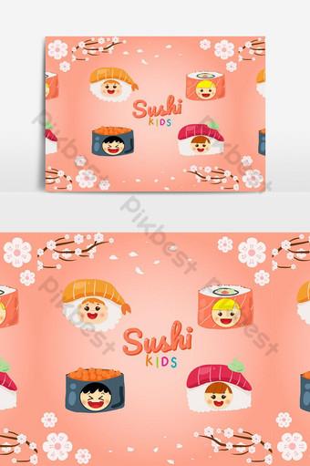 lindo logo de sushi para niños Elementos graficos Modelo EPS