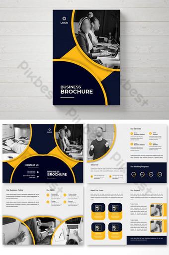 Креативный корпоративный 8-страничный шаблон бизнес-брошюры в два сложения шаблон PSD