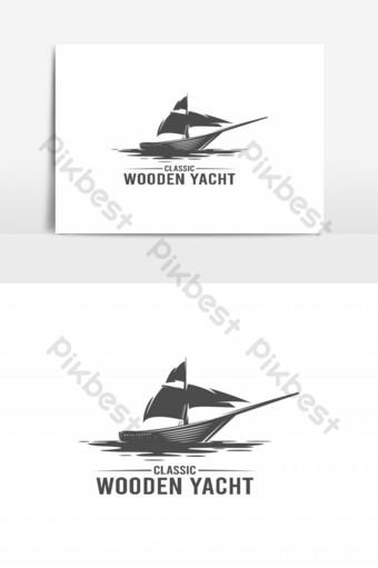 vector de logo de yate de madera vintage Elementos graficos Modelo EPS