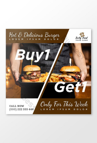 compre uno y obtenga uno ofrece plantilla de banner de publicación de redes sociales para hamburguesas y alimentos Modelo PSD