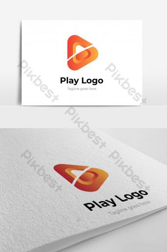 diseño de logotipo de media play logo de media play para reproducción de video marketing de video y música Modelo EPS