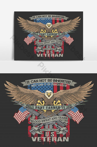amerikano agila beterano ilustrasyon vector Imahe ng PNG Template EPS