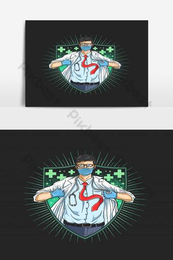 los médicos son nuestros ayudantes cuando el vector de ilustración enfermo Elementos graficos Modelo EPS