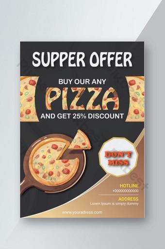 Conception de modèle de flyer restaurant offre pizza Modèle AI
