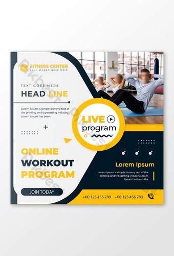 gimnasio fitness programa en vivo en línea diseño de publicaciones en redes sociales Modelo EPS