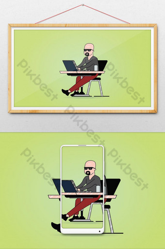 Bald Person Working on Computer illustration Illustration Template AI