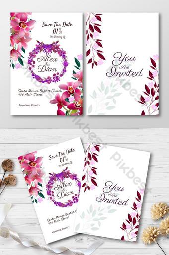 Plantilla de invitación de boda con flor roja en fondo blanco. Modelo PSD
