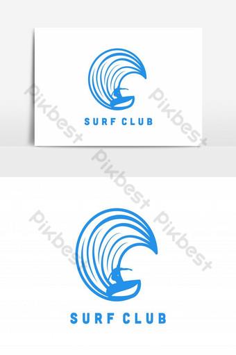 surf player man y wave logo diseños inspiración aislada sobre fondo blanco Elementos graficos Modelo AI