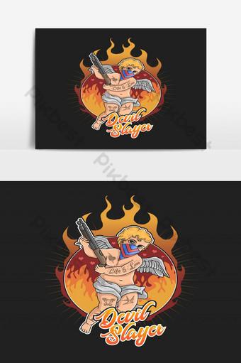 الوشم القاتل الشيطان مع خلفية اللهب صور PNG قالب EPS