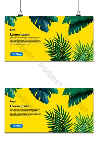 Monstera de hojas tropicales sobre fondo amarillo ilustración de vector de vista superior plana endecha Fondos Modelo AI
