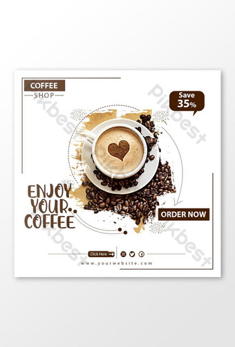 social media coffeeee sell banner. Template PSD