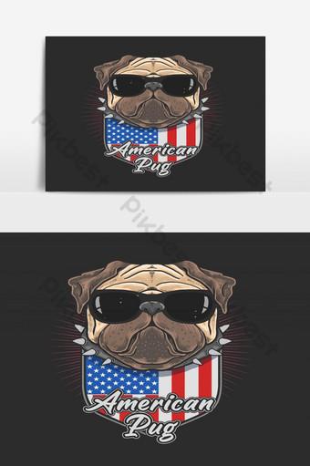 pug americano con gafas negras coll pug lindo perro Elementos graficos Modelo EPS