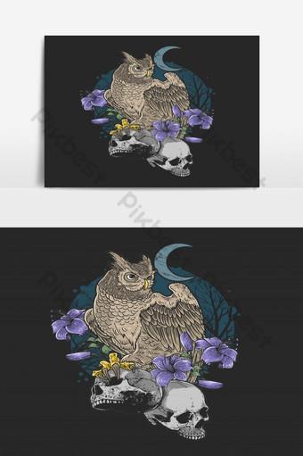 البومة طائر الأزهار مع الجمجمة كابوس خلفية الجرونج صور PNG قالب EPS