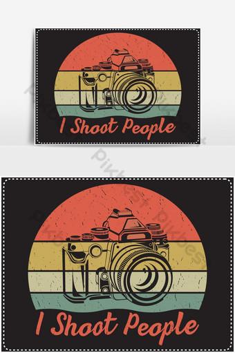 Disparo a personas que dicen diseño con un ícono de cámara y un fondo colorido Elementos graficos Modelo EPS