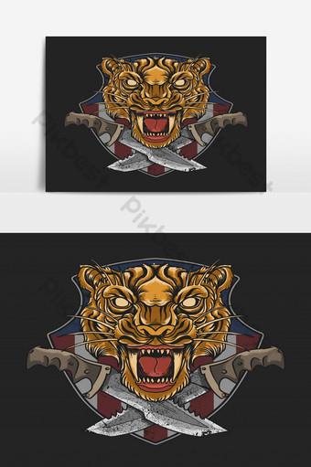 Tigre emblema militar con gráfico de vector de ilustración de daga Elementos graficos Modelo EPS