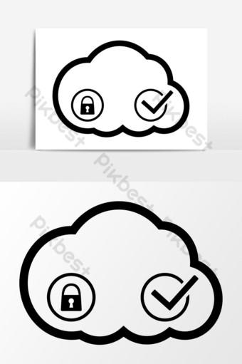 gráficos vectoriales de icono de seguridad en la nube Elementos graficos Modelo EPS