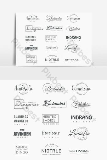 Collection de conception de logo de typographie psd modifiable Éléments graphiques Modèle PSD