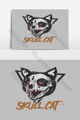 vector de ilustración de estilo grunge de gato de cráneo Elementos graficos Modelo EPS